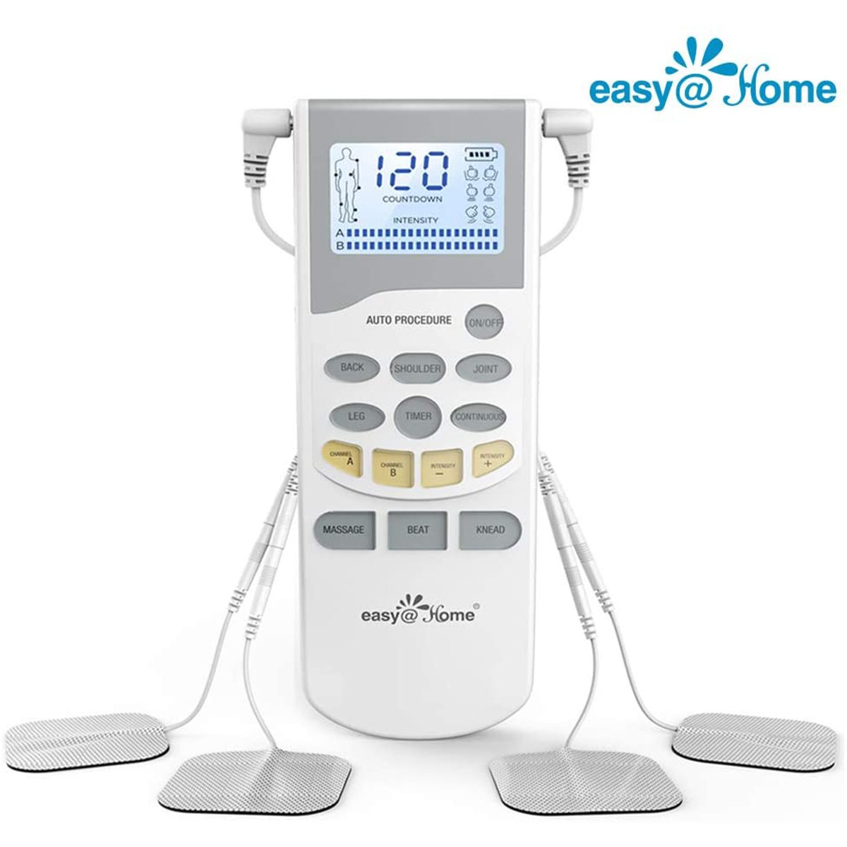 Easy@Home Professional Grade Rechargeable TENS Unit Electronic Pulse Massager